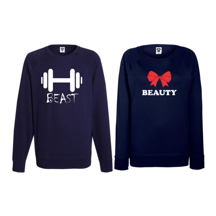 Σετ μπλούζες για ζευγάρια σκούρο μπλε Beast and Beaty 2
