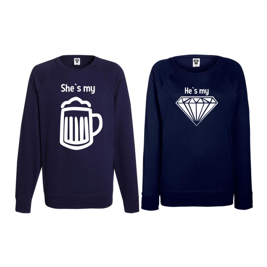 Σετ μπλούζες για ζευγάρια σκούρο μπλε Beer - Diamond