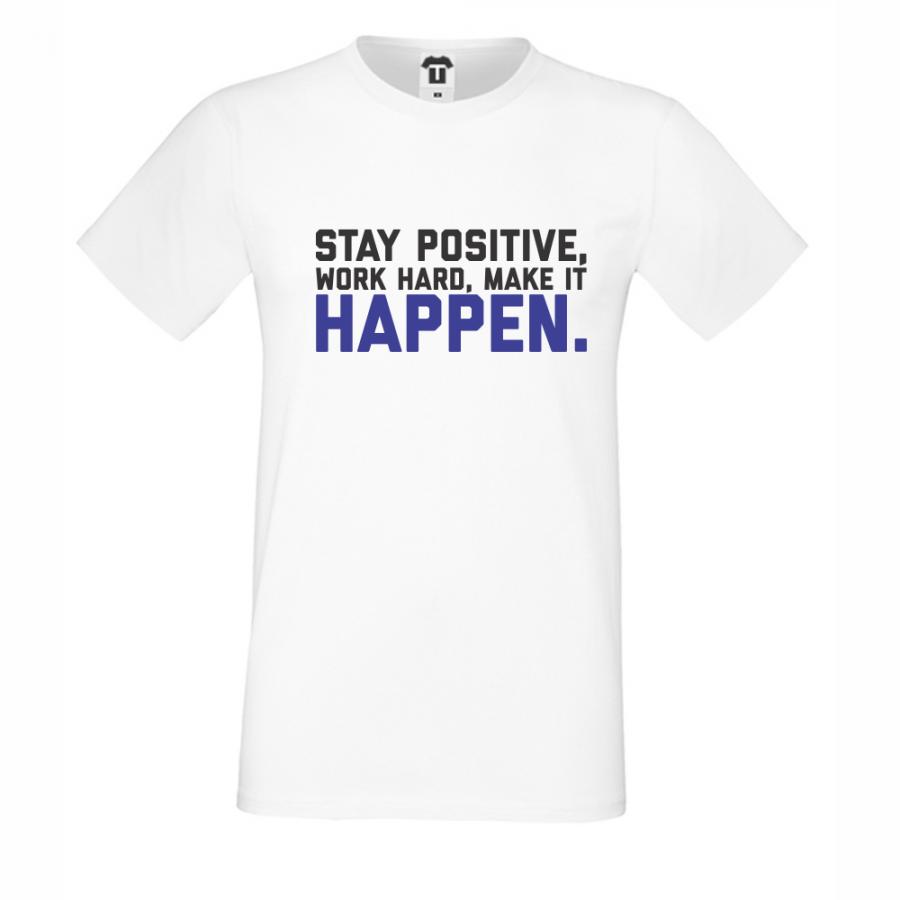 Ανδρική άσπρη μπλούζα Stay Positive