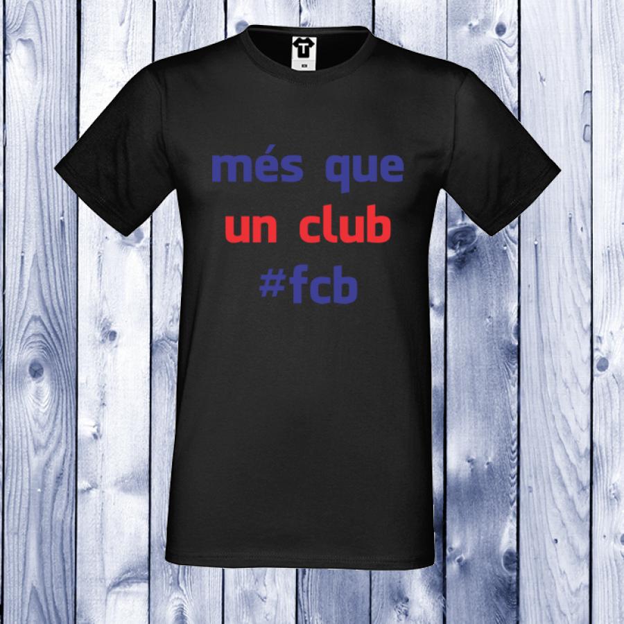 Ανδρική μαύρη μπλούζα με στάμπα Mas Que Un Club