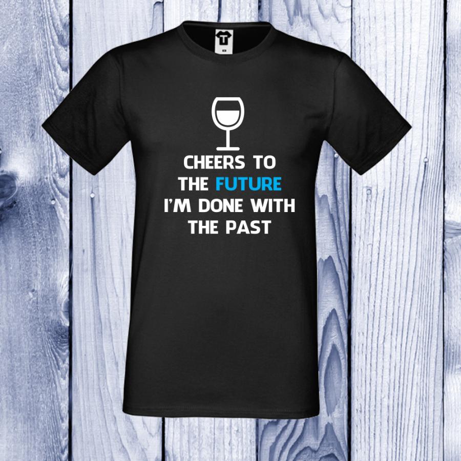 Ανδρική μαύρη μπλούζα Cheers to the future.