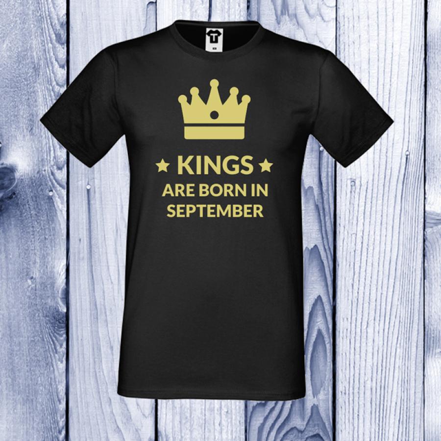 Ανδρική μαύρη μπλούζα KINGS ARE BORN IN September