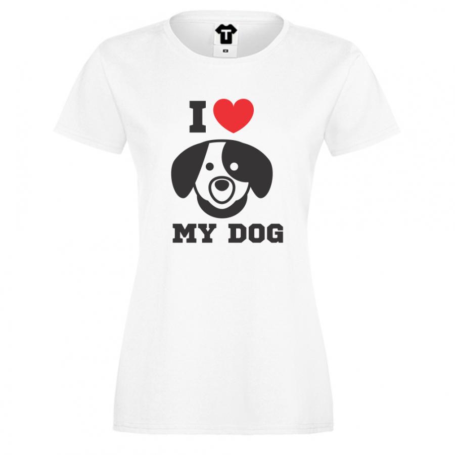 Γυναικεία άσπρη μπλούζα με στάμπα I LOVE MY DOG