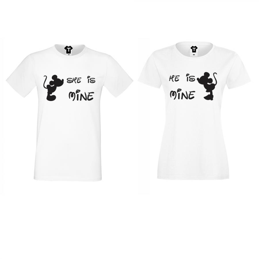 Σετ για ζευγάρια άσπρο χρώμα She is Mine - He is Mine