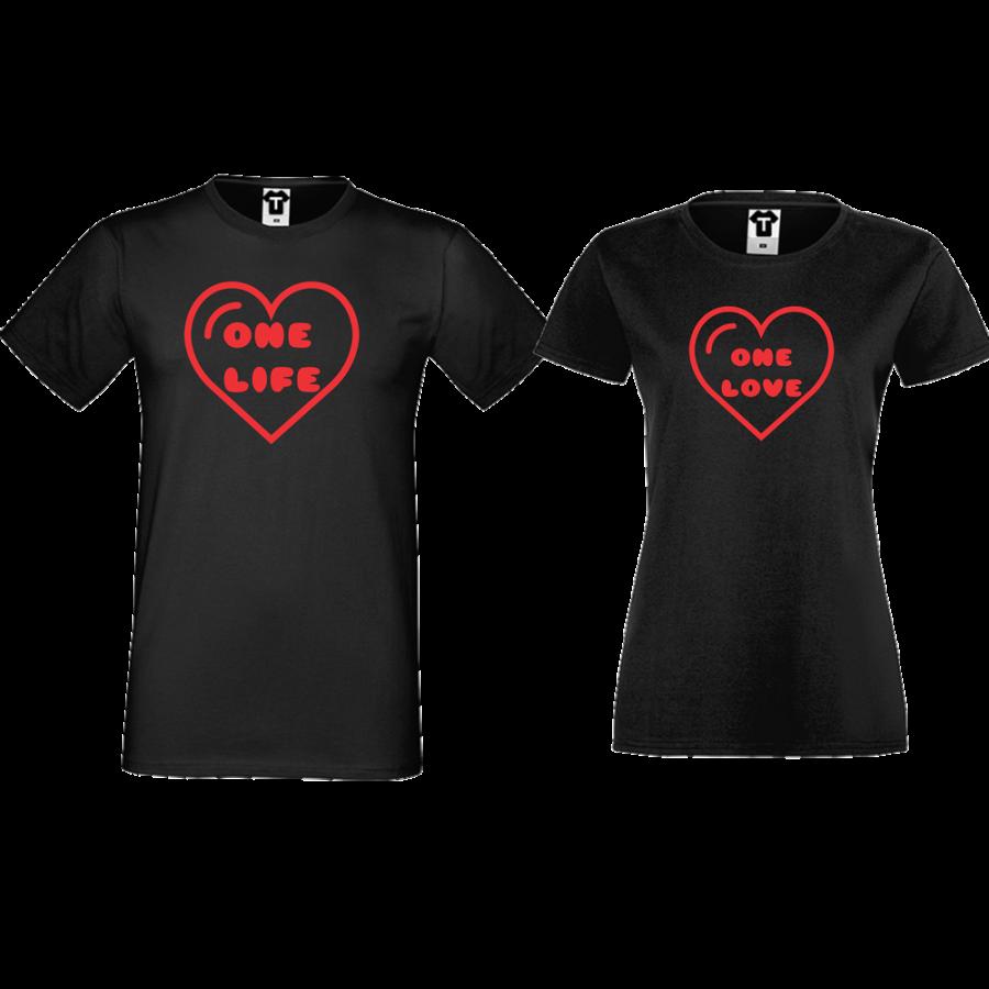 Σετ μαύρες μπλούζες με στάμπα One Life - One Love