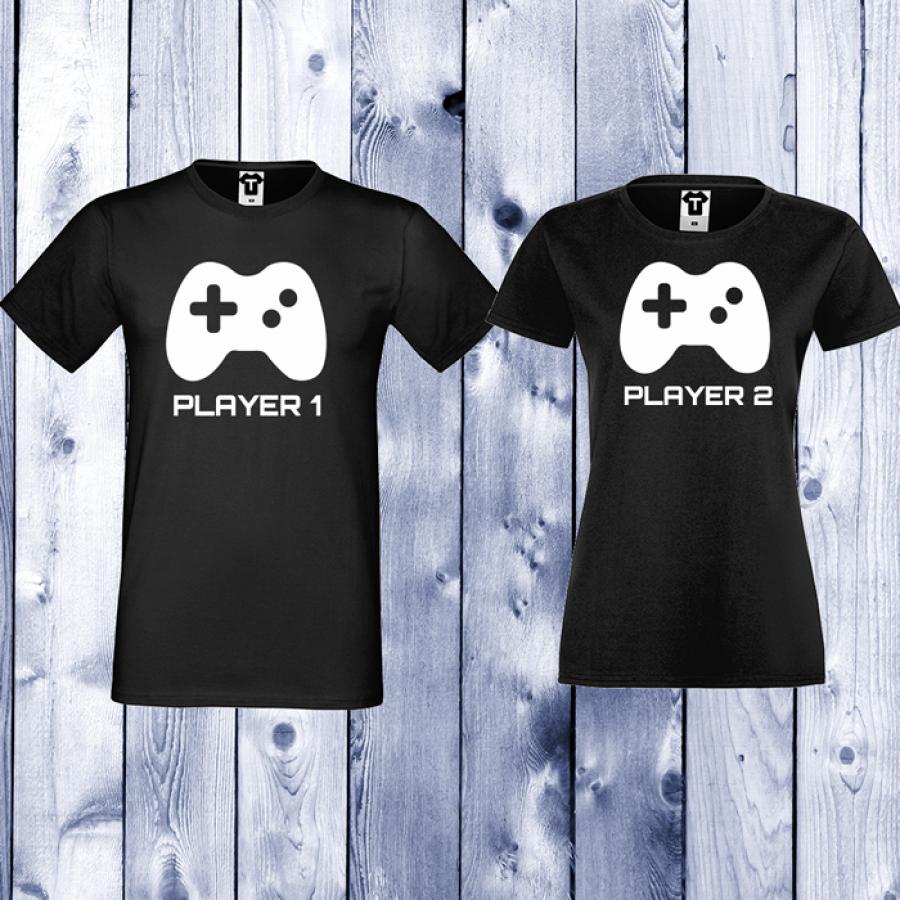 Σετ μαύρες μπλούζες με στάμπα Player 1 - Player 2