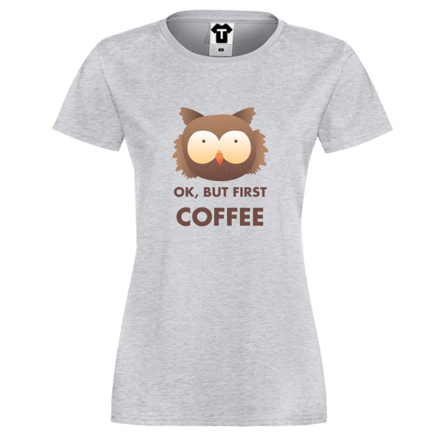 Γυναικεία γκρι μπλούζα Coffee First