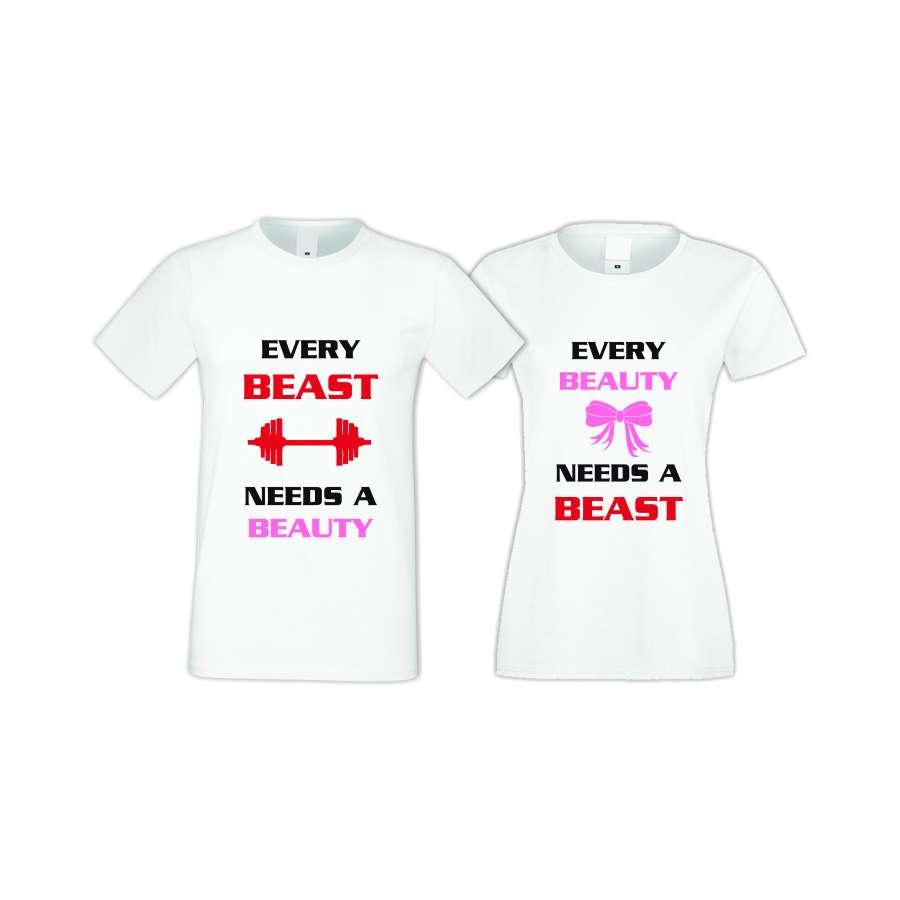 Μπλούζες για ζευγάρια άσπρο χρώμα Every BEAST needs a BEAUTY