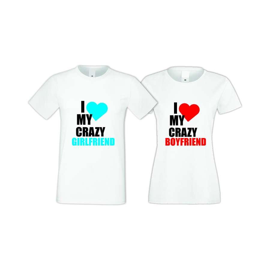 Μπλούζες για ζευγάρια άσπρο χρώμα I Love My Crazy