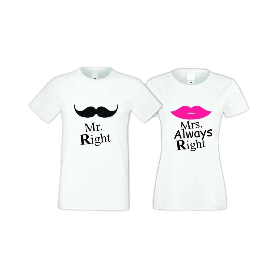 Μπλούζες για ζευγάρια άσπρο χρώμα Mr Right Mrs Always Right