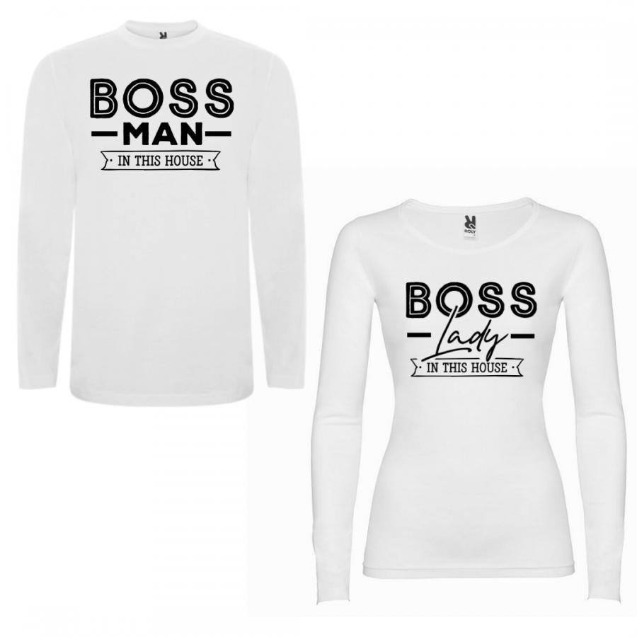 Σετ μπλουζάκια με μακρύ μανίκι για ζευγάρια Boss Man Boss Lady