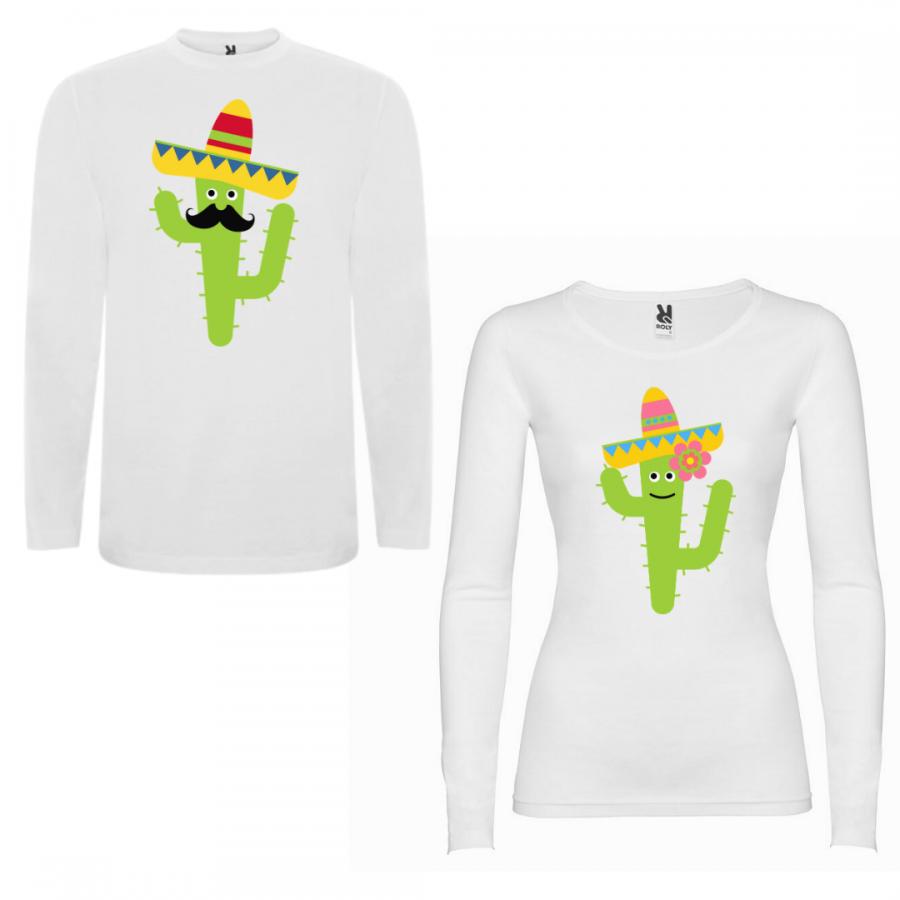 Σετ μπλουζάκια με μακρύ μανίκι για ζευγάρια Cactus Couple