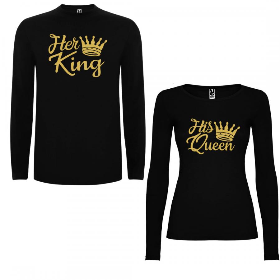 Σετ μπλουζάκια με μακρύ μανίκι για ζευγάρια Her King - His Queen