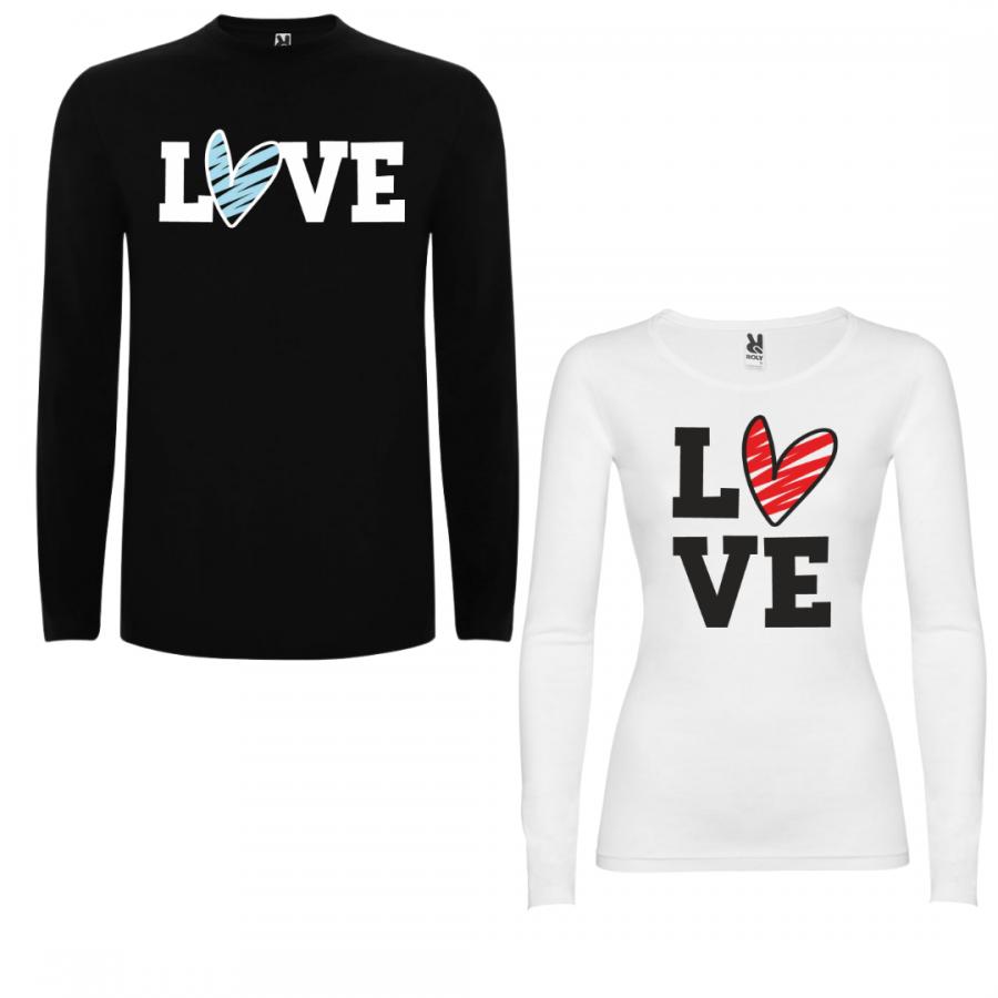 Σετ μπλουζάκια με μακρύ μανίκι για ζευγάρια LOVE Colored
