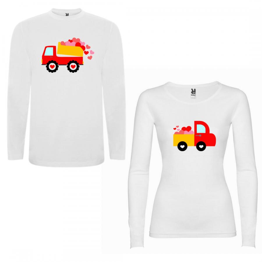 Σετ μπλουζάκια με μακρύ μανίκι για ζευγάρια I Love You Love Trucks