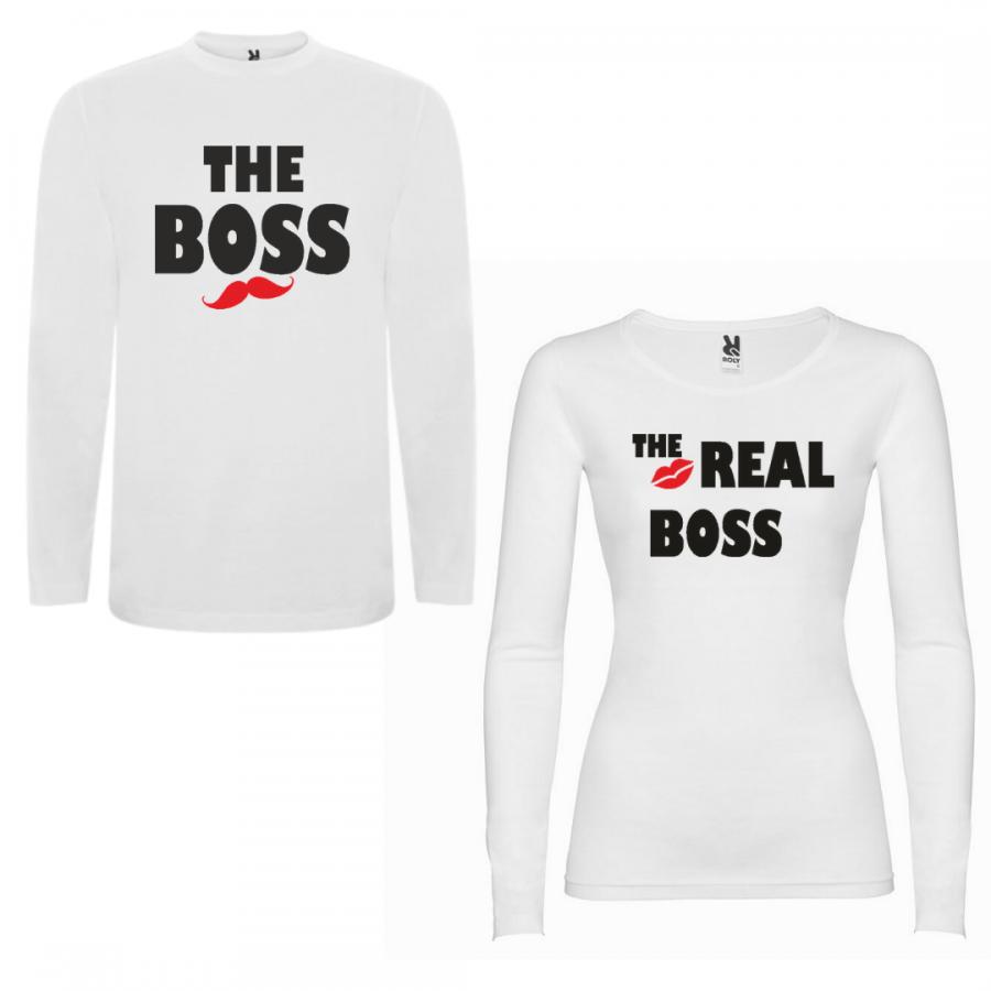 Σετ μπλουζάκια με μακρύ μανίκι για ζευγάρια The Boss - The Real Boss