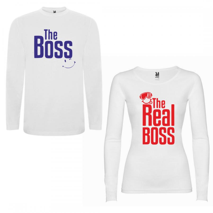 Σετ μπλουζάκια με μακρύ μανίκι για ζευγάρια The Boss - The Real Boss New