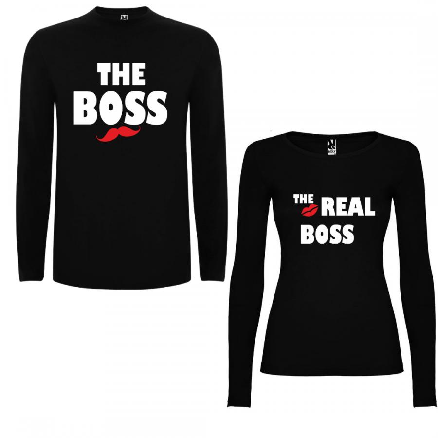 Σετ μπλουζάκια με μακρύ μανίκι για ζευγάρια The Boss - The Real Boss в черно