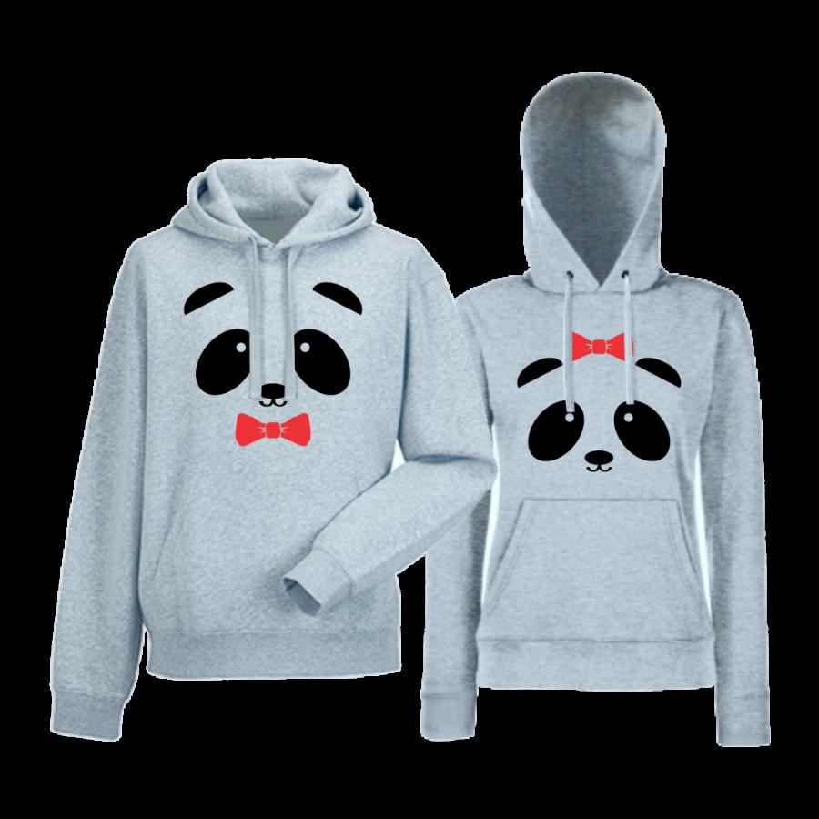 Γκρι φούτερ για ζευγάρια Sweet Panda