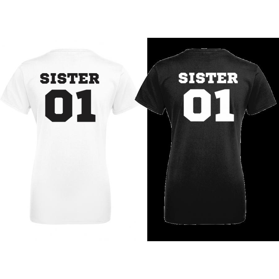 Σετ μαύρες μπλούζες με στάμπα SISTERS 01