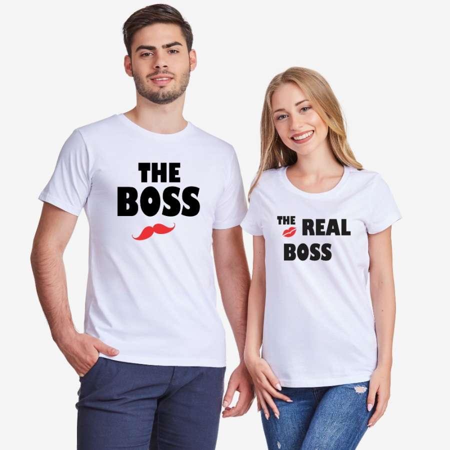 Σετ για ζευγάρια άσπρο χρώμα The Real Boss Kiss