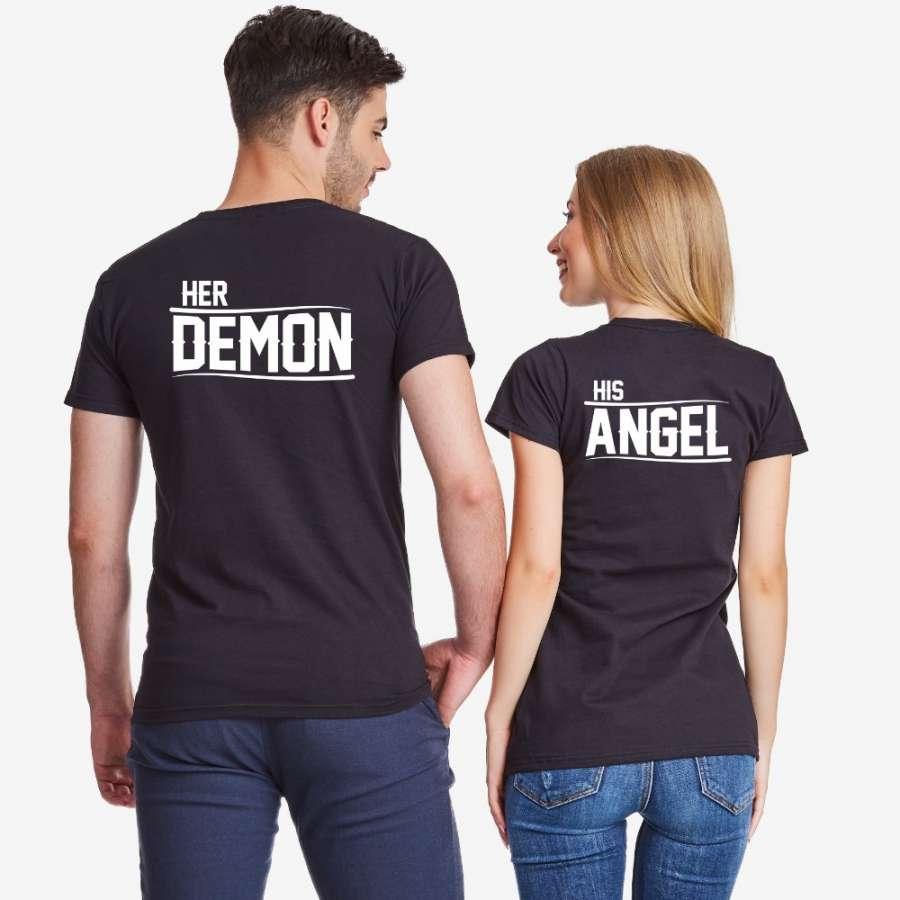 Σετ για ζευγάρια μαύρο χρώμα Her Demon and His Angel