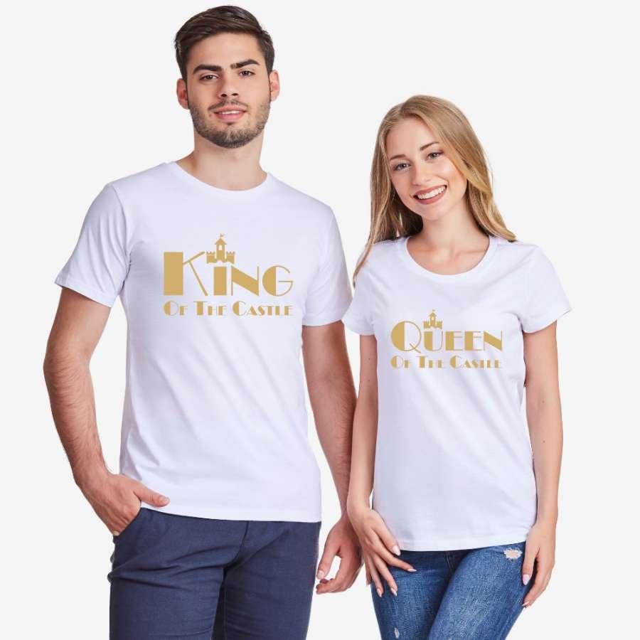 Μπλούζα για ζευγάρια σε άσπρο ή μαύρο χρώμα King and Queen of the castle