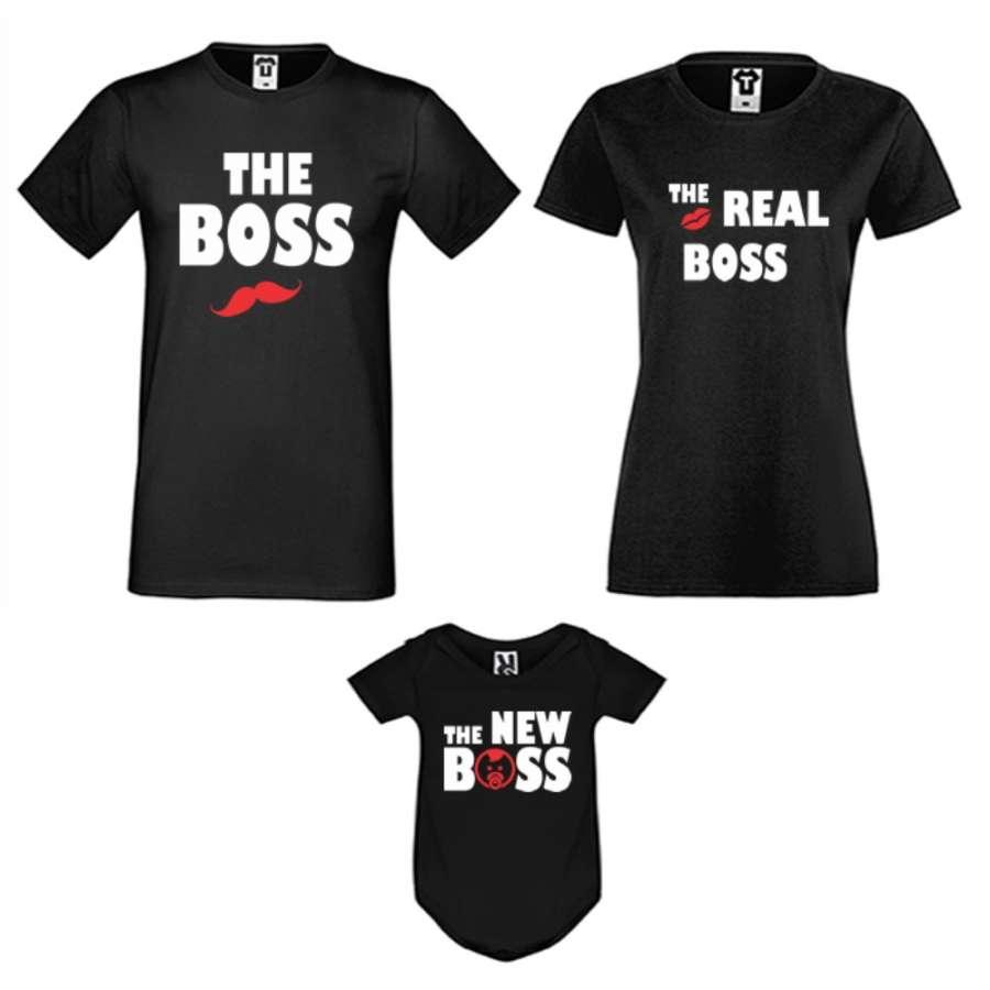 Οικογενειακό σετ σε μαύρο ή άσπρο χρώμα  The Boss, The Real Boss and The New Boss Girl