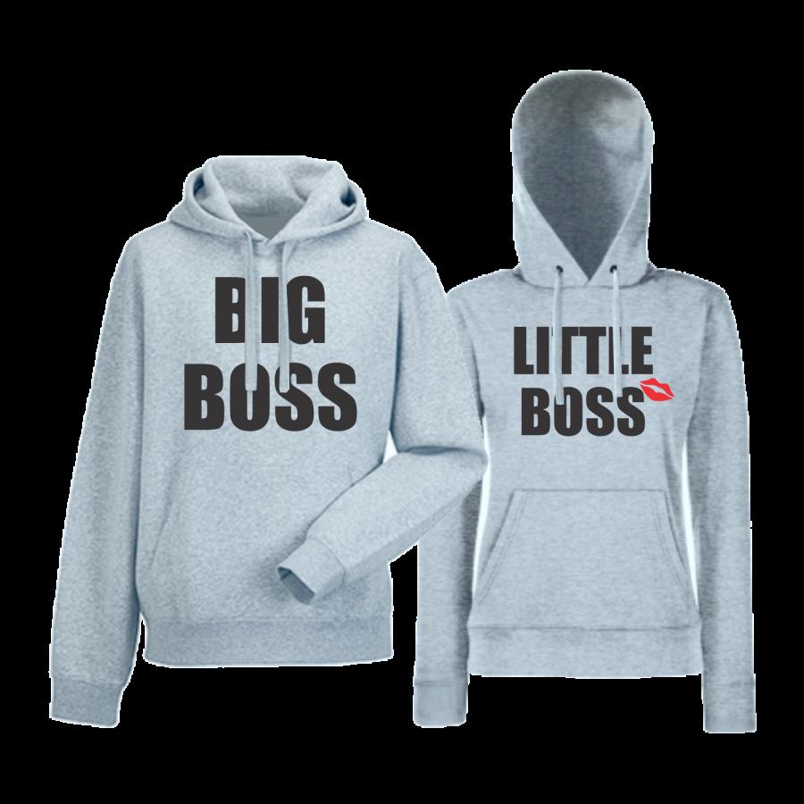 Γκρι φούτερ για ζευγάρια  Big and Little Boss