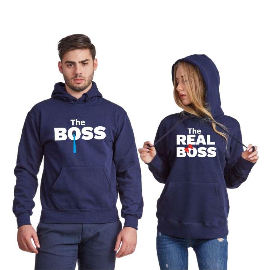 Σκούρο μπλε φούτερ για ζευγάρια The Real Boss Tie