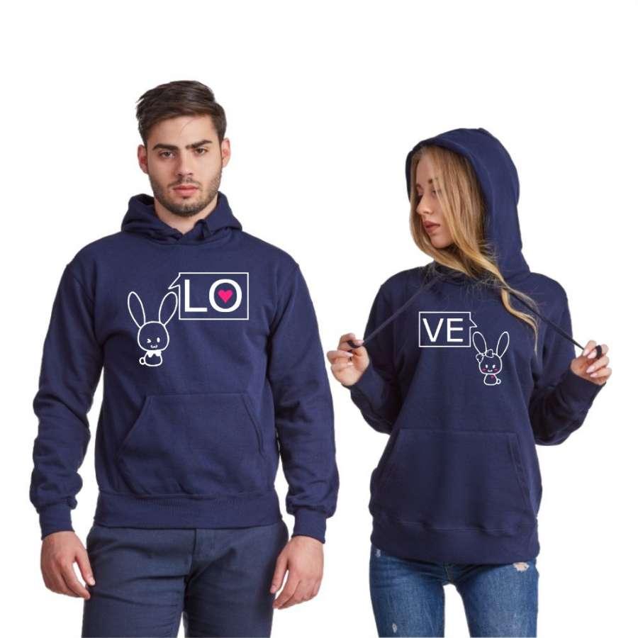 Σκούρο μπλε φούτερ για ζευγάρια LO-VE Bunny