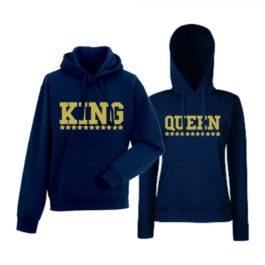 Σκούρο μπλε φούτερ για ζευγάρια  King - Queen