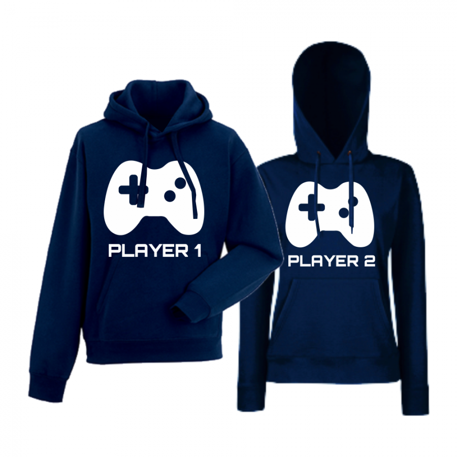 Σκούρο μπλε φούτερ για ζευγάρια  Player 1 - Player 2