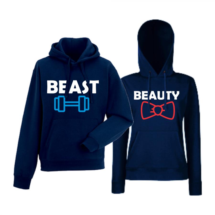 Σκούρο μπλε φούτερ για ζευγάρια  Beast and Beaty