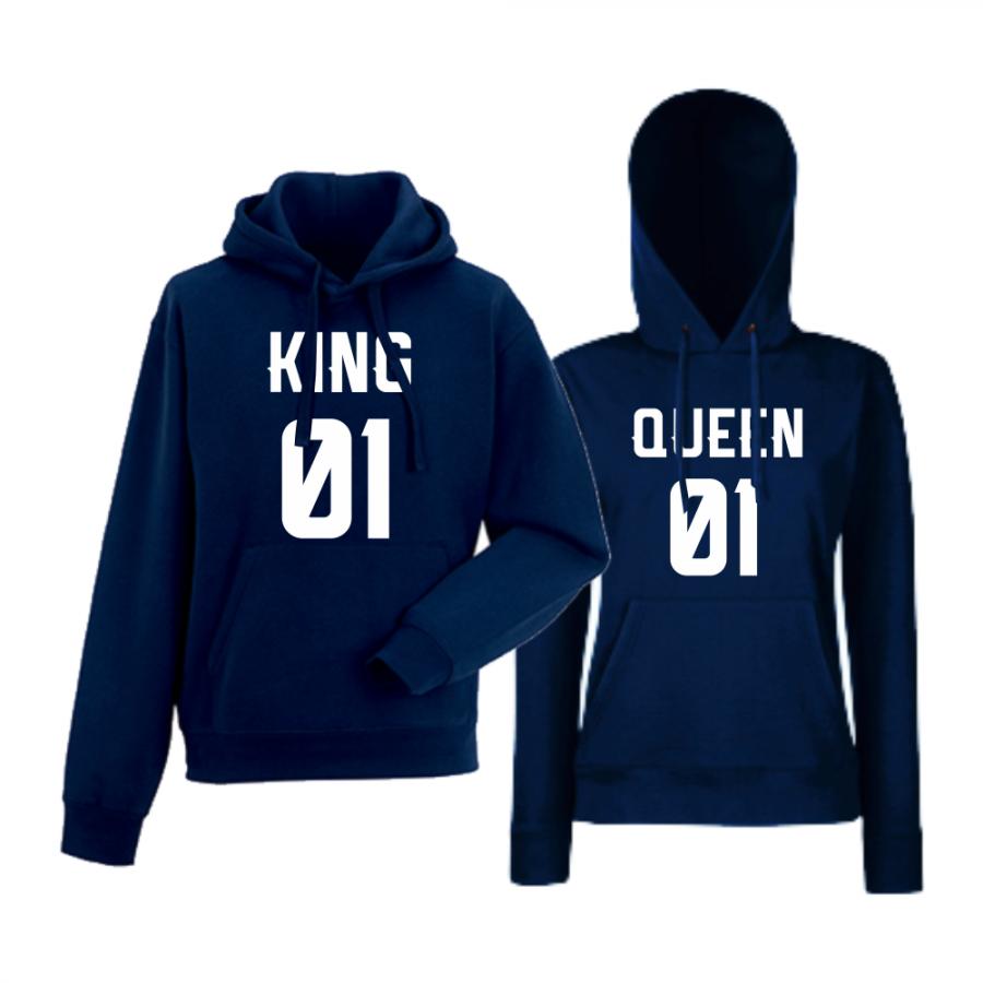 Σκούρο μπλε φούτερ για ζευγάρια  King 01