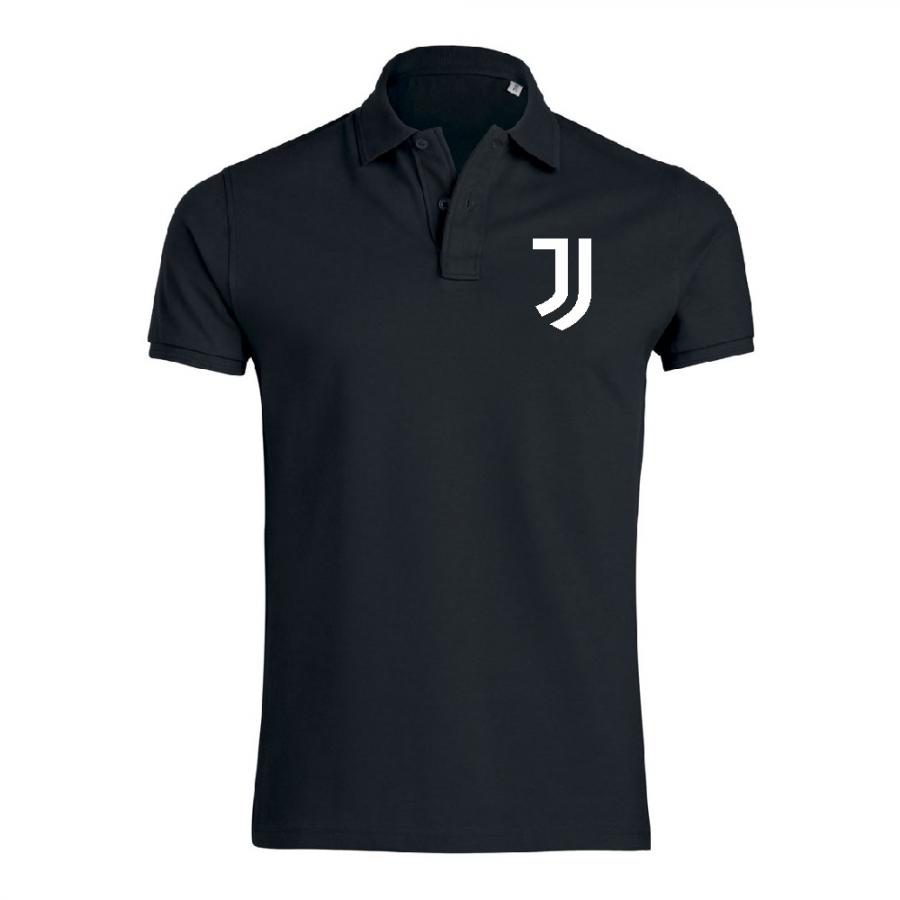 Μαύρη ανδρική μπλούζα πόλο από 100% οργανικό βαμβάκι Juve